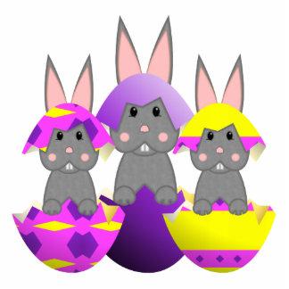 Gray Bunny Easter Eggs Photo Sculpture Ornament