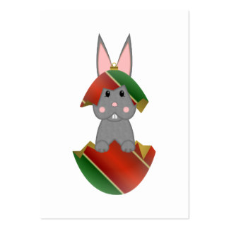 Gray Bunny In A Christmas Ornament Business Card Templates