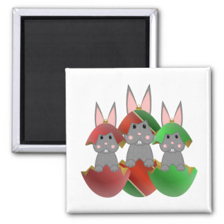 Gray Bunny In A Christmas Ornaments 2 Inch Square Magnet