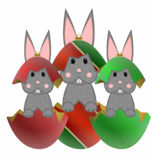 Gray Bunny In A Christmas Ornaments Cut Out