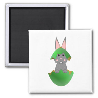 Gray Bunny In A Green Christmas Ornament 2 Inch Square Magnet