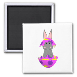 Gray Bunny In A Pink Egg Refrigerator Magnet