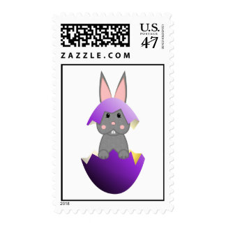 Gray Bunny In A Purple Egg Postage