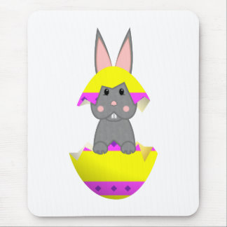 Gray Bunny In A Yellow Egg Mouse Pad