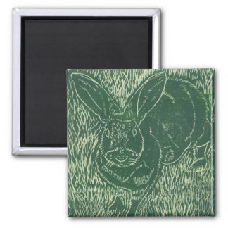 Gray Bunny Rabbit In The Grass 2 Inch Square Magnet