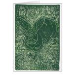 Gray Bunny Rabbit In The Grass Card