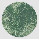 Gray Bunny Rabbit In The Grass Stickers