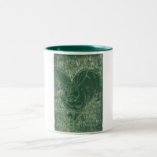 Gray Bunny Rabbit In The Grass Two-Tone Coffee Mug