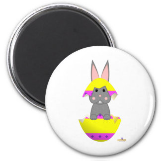 Gray Bunny Yellow Decorated Easter Egg Magnet