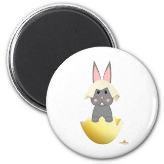 Gray Bunny Yellow Easter Egg Fridge Magnet