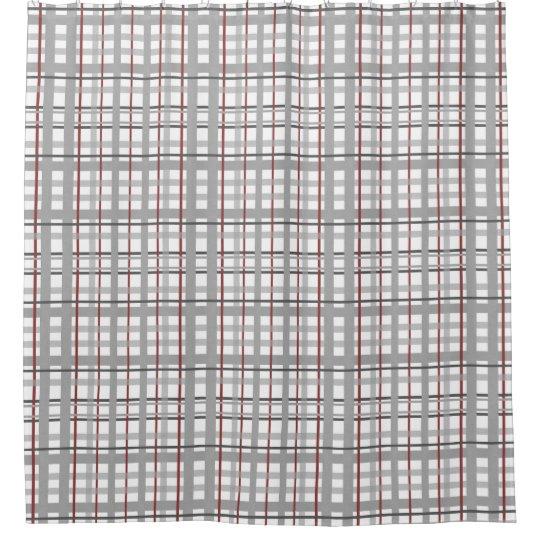 Gray Burgundy White Plaid Checkered Shower Curtain