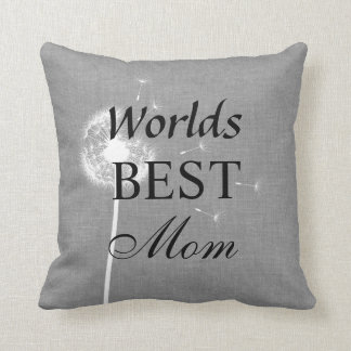 Gray Burlap Worlds Best Mom Pillow with Dandelion