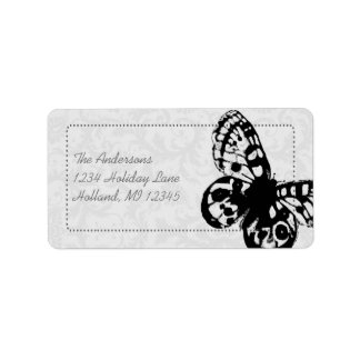 Gray Butterfly Damask Return Address Label