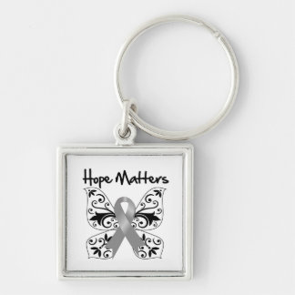 Gray Butterfly Ribbon -  Hope Matters Silver-Colored Square Keychain