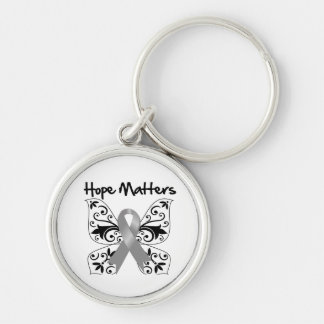 Gray Butterfly Ribbon -  Hope Matters Silver-Colored Round Keychain