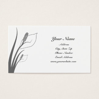 Gray Calla Lily Silhouette Business Cards