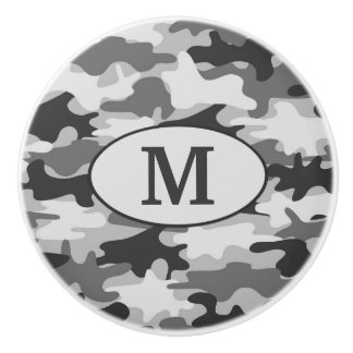Gray Camo Camouflage Monogram Initial Personalized Ceramic Knob