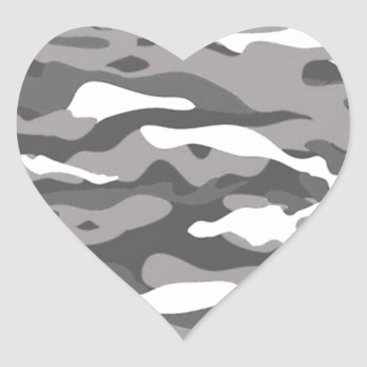 Gray Camo Heart Sticker