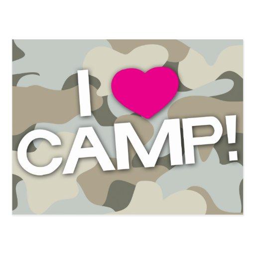 Gray Camo I LOVE CAMP! Postcard