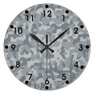 Gray Camo Large Clock