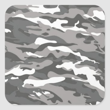 Gray Camo Square Sticker