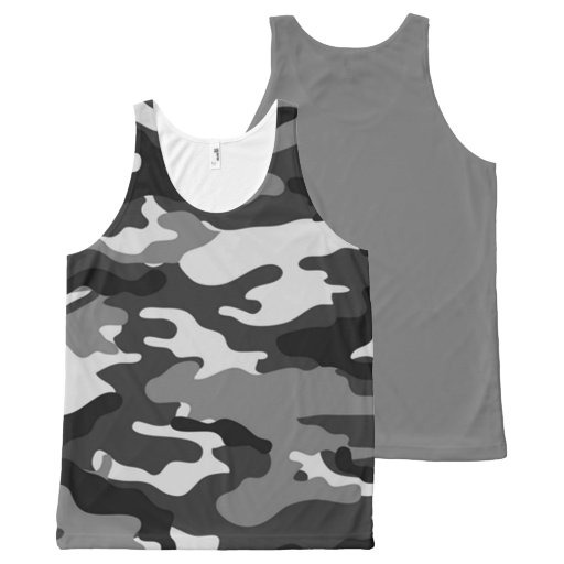 Gray Camouflage All Over Print Tank Top All-Over Print Tank Top Tank Tops, Tanktops Shirts