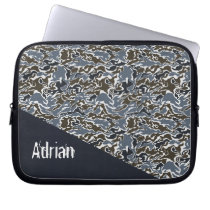 gray camouflage army laptop sleeve