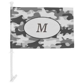 Gray Camouflage Camo Monogram Initial Window Car Flag