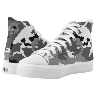 Gray camouflage pattern High-Top sneakers