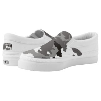 Gray camouflage pattern Slip-On sneakers