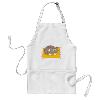 Gray Cartoon Tabby cat w/ Green Eyes on Pet Bed Adult Apron