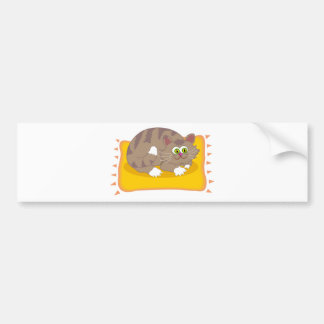 Gray Cartoon Tabby cat w/ Green Eyes on Pet Bed Bumper Sticker