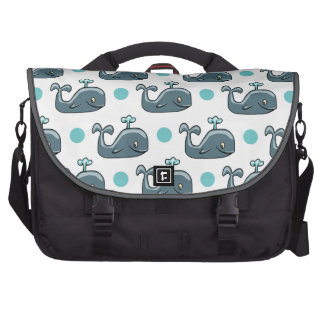 Gray Cartoon Whale Blue Polka Dots Commuter Bag