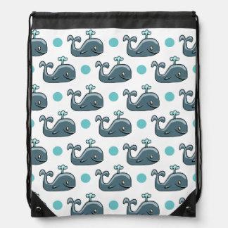 Gray Cartoon Whale Blue Polka Dots Cinch Bags