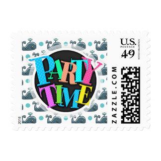 Gray Cartoon Whale, Blue Polka Dots Stamp