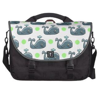 Gray Cartoon Whale Light Green Polka Dots Computer Bag