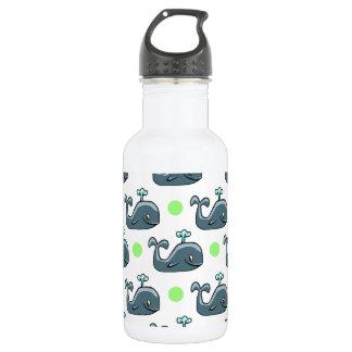 Gray Cartoon Whale, Light Green Polka Dots 18oz Water Bottle