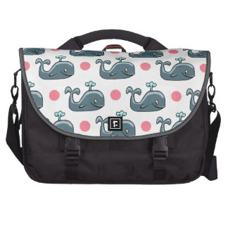 Gray Cartoon Whale Pink Polka Dots Commuter Bag