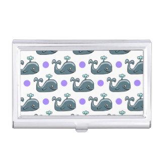 Gray Cartoon Whale, Purple Polka Dots Business Card Case
