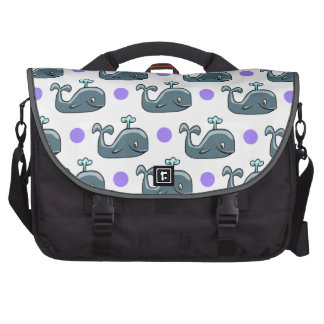 Gray Cartoon Whale Purple Polka Dots Bag For Laptop