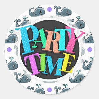 Gray Cartoon Whale, Purple Polka Dots Round Sticker
