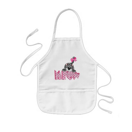 Gray Cat and Pink Meow Kids' Apron