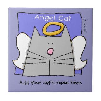 Gray Cat Angel Personalize Ceramic Tile