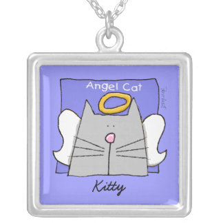 Gray Cat Angel Personalize Square Pendant Necklace