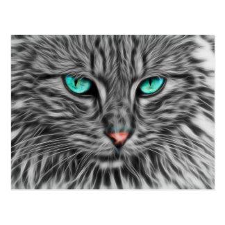 Gray Cat Art Postcard