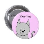 Gray Cat Cartoon. 2 Inch Round Button