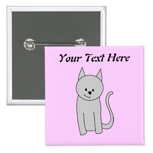 Gray Cat Cartoon. 2 Inch Square Button