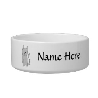 Gray Cat Cartoon. Bowl