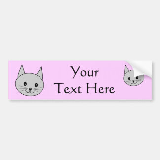 Gray Cat Cartoon. Bumper Sticker