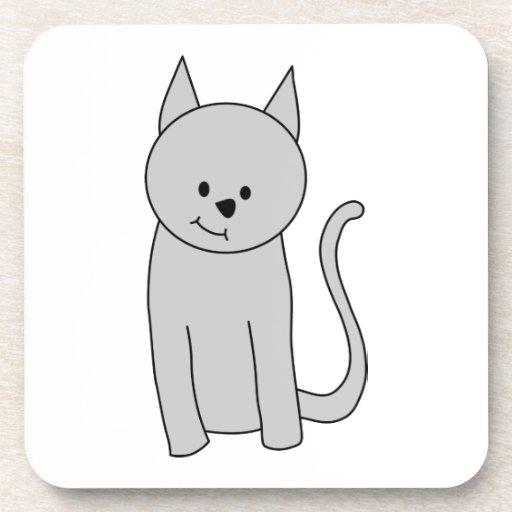 Gray Cat Cartoon. Drink Coaster